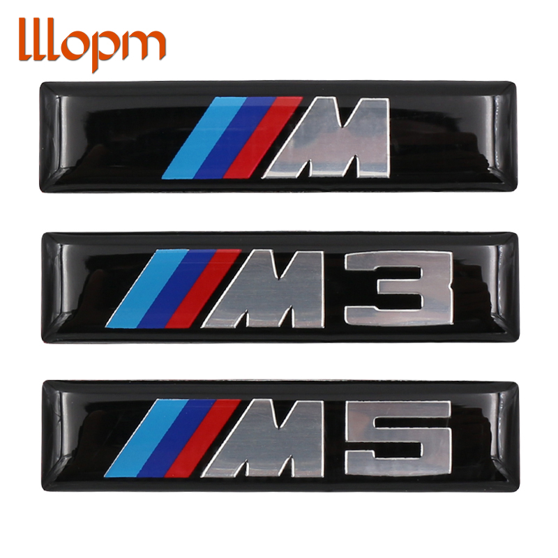 2x Car styling M M3 M5 Logo Car Sticker Aluminum Emblem Grill Badge for BMW E34 E36 E39 E53 E60 E90 F10 F30 M3 M5 M6 accessories hot sale 1pc longhorn hilux 900mm graphic vinyl sticker for toyota hilux decals badges detailing sticker car styling accessories