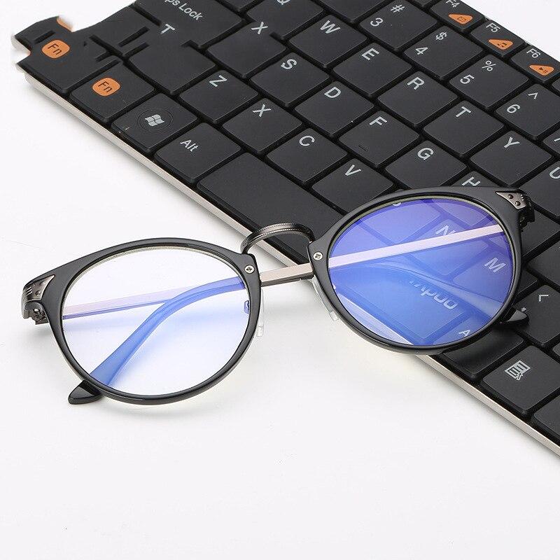 Retro TR90 kerek sugárzás ellenálló szemüveg férfi női PC titán és Cooper lencsék sima tükör elleni fáradtság számítógép szemüveg