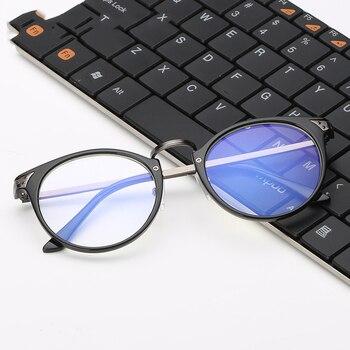 Retro TR90 Yuvarlak Radyasyon Dayanıklı Gözlük Erkek Kadın ADET Titanyum ve Bakır Lensler Düz Ayna Anti Yorgunluk Bilgisayar Gözlük