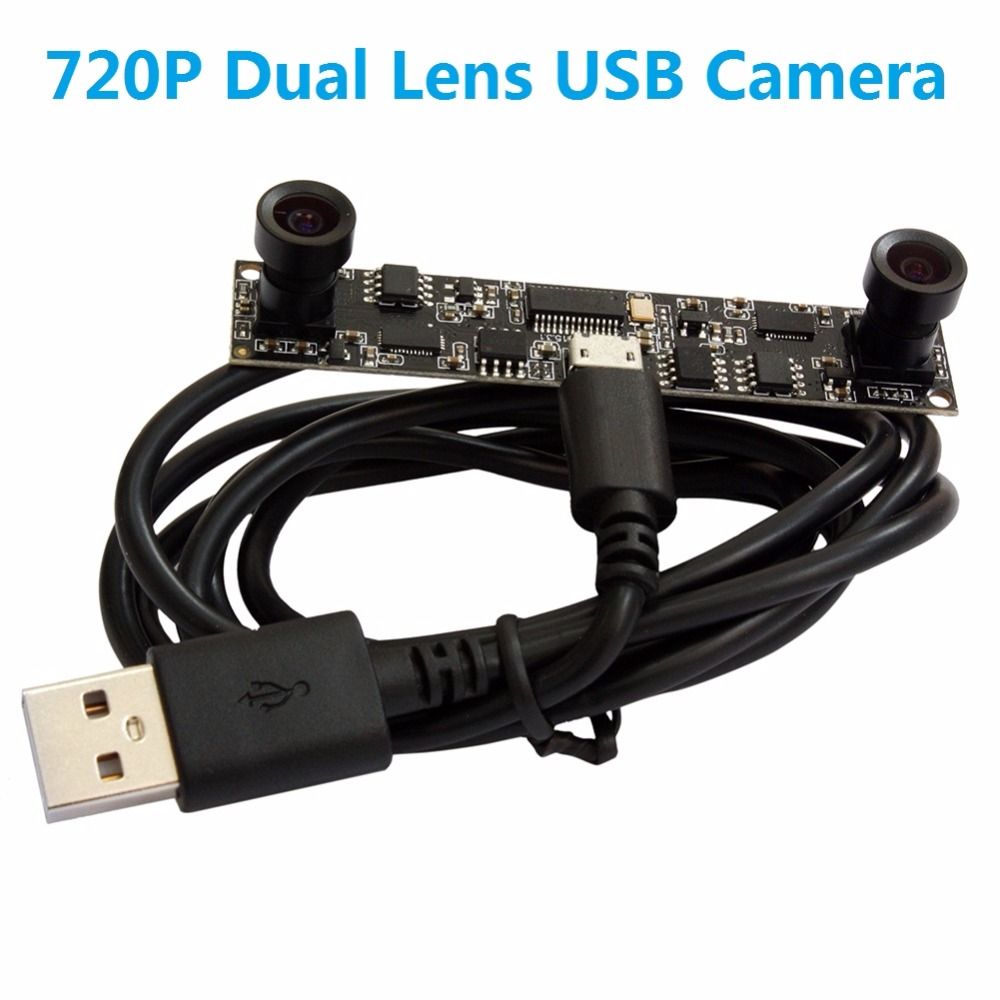 ELP Dual Lens 1.0 Megapixel HD CMOS OV9712 USB Webcam Module Camera with 90 degree View Angle for people counting,retina analyze