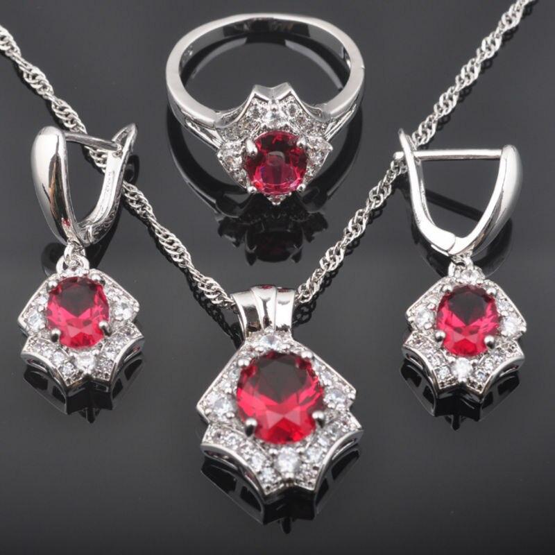 Schmuck & Zubehör Brillant Fahoyo Glänzende Rose Red Zirkon Weiß Cz Frauen 925 Sterling Silber Schmuck Sets Ohrringe/anhänger/halskette/ringe Qz0485