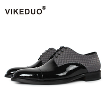 купить VIKEDUO Flat Shoes Classic Men's Derby Shoes Custom Made 100% Genuine Leather Dress Party Shoes Lace-Up Black Original Design дешево