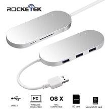 Rocketek концентратор USB 3.0 3-Порты и разъёмы алюминиевый концентратор с Card Reader Combo 3.0 устройство чтения карт памяти 2 слота карты ридер для SD, Micro SD