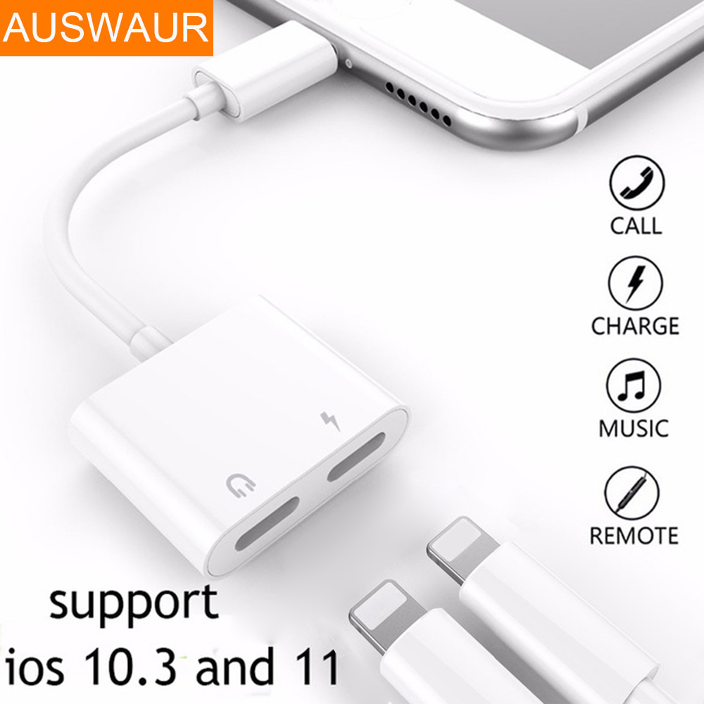 Double Jack Audio Adapter for iPhone 7/8/X Suppore iOS 11 Charging Music or Call For Headphone Audio Adapter Converter