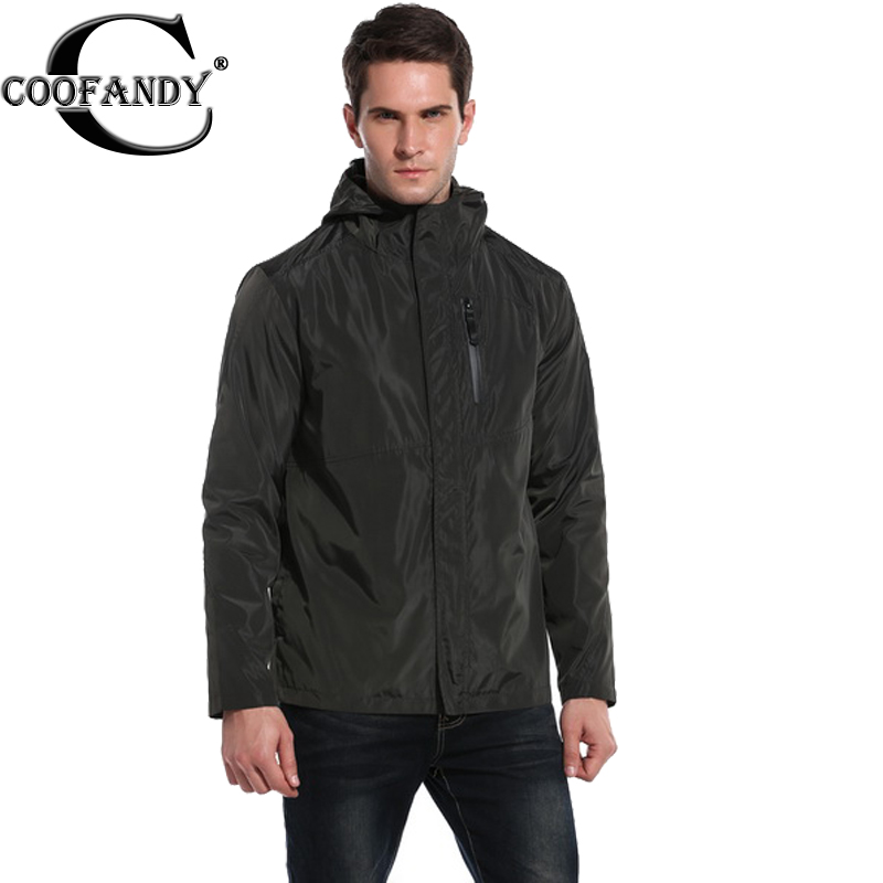 Coofandy Men Waterproof Jacket Hooded Coat Solid 2017 Autumn ...