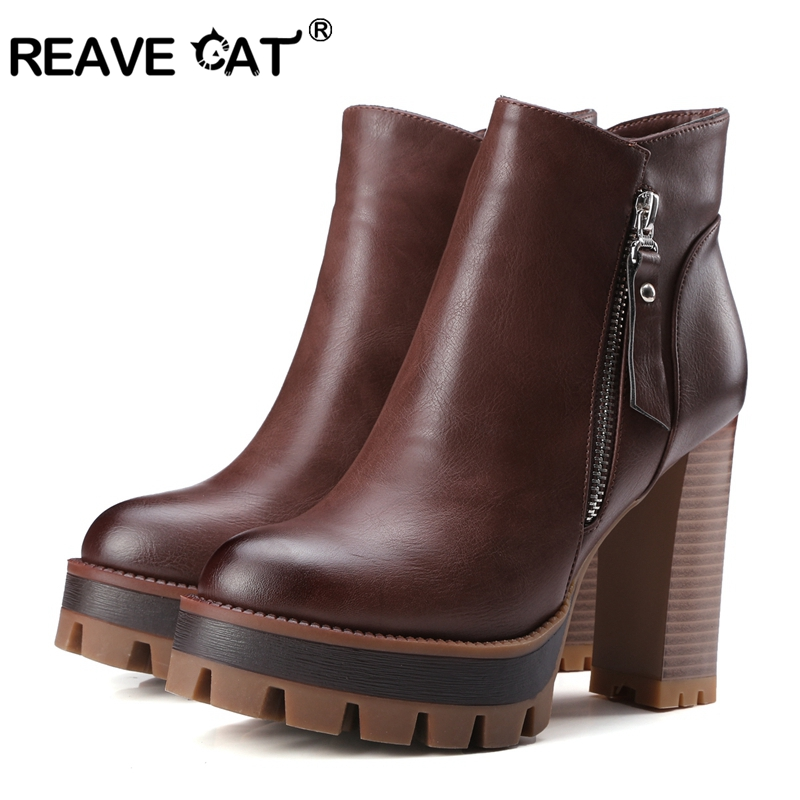 Reave En De Occidental 2018 Taille Chaussures Gris Hauts Bottines Rond Pu Boot Chat Femmes cml Talons Style Carré grey Moto À Black brown Cuir A902 Bout hCdBsroQxt