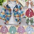 2017 nuevos niños camisetas para niños otoño-verano de manga larga de las muchachas blusas plaid clothing niños camisas de algodón para la muchacha