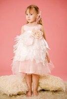 Розовая принцесса pageant платья 2015 органзы оборками маленькая девочка цветок платье ребенок пром вечерние платья robe mariage fille