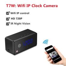 Relógio Da Câmera IP wi-fi HD 720 P Automaticamente IR Night Vision Mini câmera IP P2P Sem Fio Câmera Relógio de Mesa de Alarme Configuração Mini Cam
