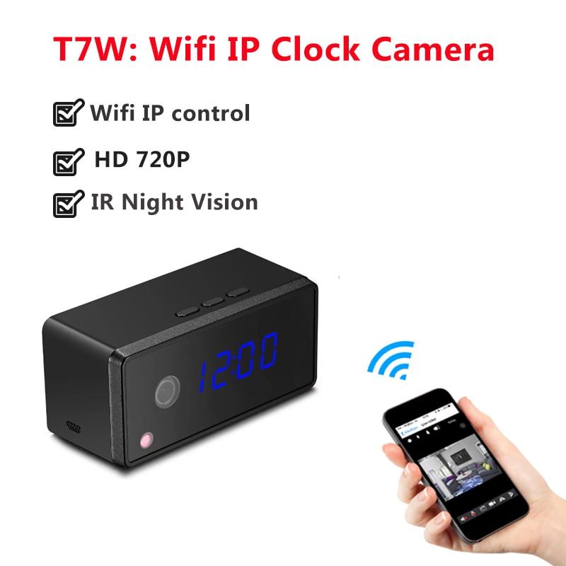 Wifi IP Clock Camera HD 720P Automatically IR Night Vision Mini Camera Wireless P2P IP Table Clock Camera Alarm Setting Mini Cam