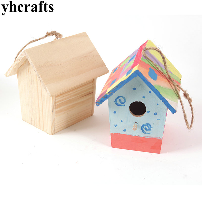2PCS LOT Paint unfinished wood bird house Kids toy Drawing toys Early educational toy Kindergarten arts