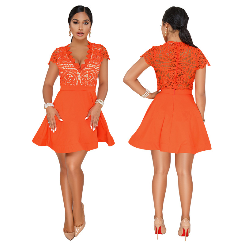Vestido Verano Summer Short Sleeve Lace Crochet Chiffon A Line Dresses Women Orange V Neck See Through Back Zipper Mini Dress