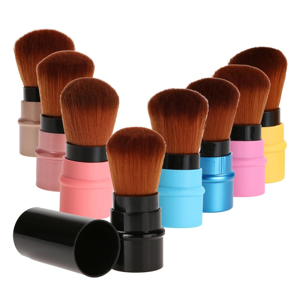 Retractable Makeup Brush Mini Portable Face Powder Contour Foundation Blusher Brush Professional Cosmetic Blending Tools t050 3w mini portable retractable stereo speaker w tf black golden 16gb max
