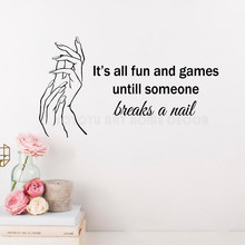YOYOYU Art Manicure Quotes Decal Beauty Hands Nails Wall Sticker Polish Manicures Stickers for Bedroom Make Up Y126