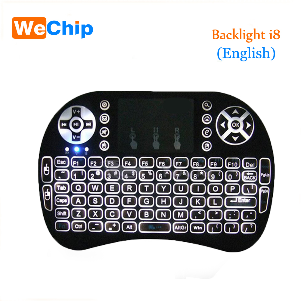 Wechip English Russian i8 Backlight Mini Wireless Keyboard 2 4GHz Air Mouse Gaming Touchpad for Android