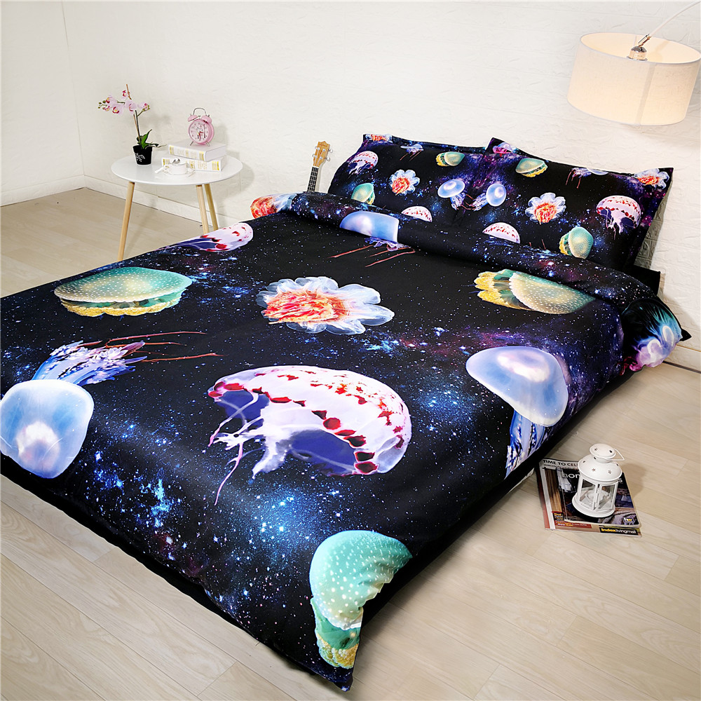 3D GalaxyJellyfish Bed and Bedding Set Microfiber Bedding fadeless Comforter Duvet Cover Set Queen Bedclothes for Adults Bed3D GalaxyJellyfish Bed and Bedding Set Microfiber Bedding fadeless Comforter Duvet Cover Set Queen Bedclothes for Adults Bed