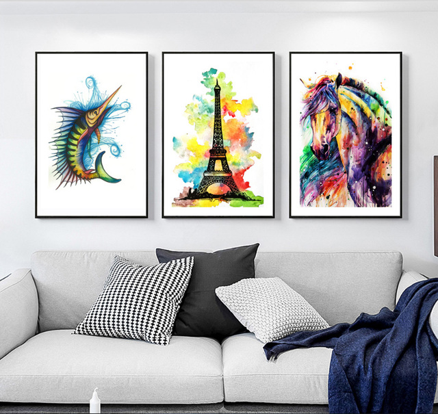 Gemälde Wohnzimmer, aquarell welt fliegende fische pferd eiffelturm 3 stücke leinwand, Design ideen