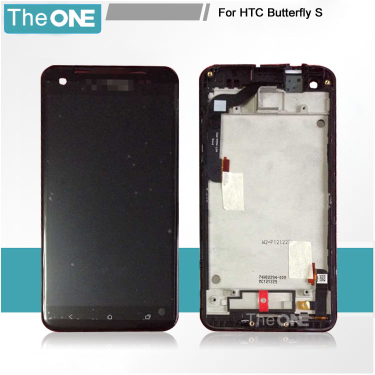 Lcd screen Display+ Touch digitizer with frame For HTC Butterfly S X901E 901E 9060 Black color free shipping free dhl shipping lcd for htc one m7 lcd display and touch screen digitizer with frame black white silver blue color
