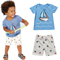 Sodawn Summer Style Active Boys Sets Boy Shorts Cartoon Suits Summer Short sleeve T-shirt Top+ Plaid Pants Clothing Set