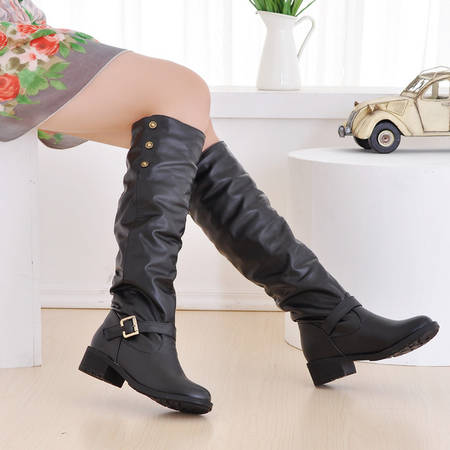 Winter Boots Real 2016 Big Size 34-43 Women Knee High Boots Sexy Chunky Round Toe Spring Autumn Shoes Less Platform 02 nemaone women knee boots 2017 sexy vintage chunky high heels spring autumn shoes round toe less platform motorcycle boots