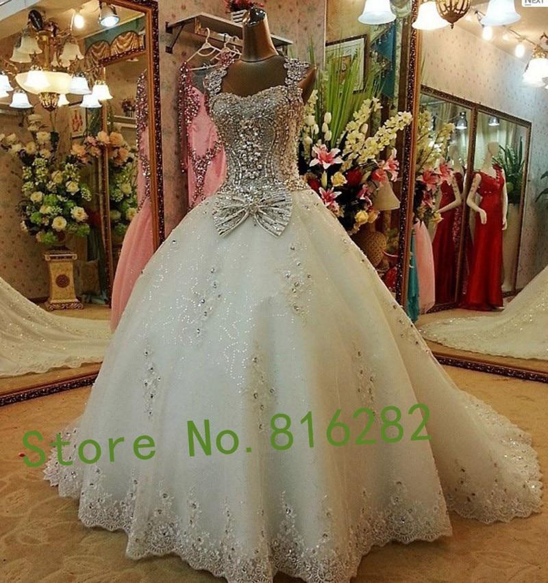 Online Get Cheap Luxury Sparkling Crystal Wedding Dress Long Train ...