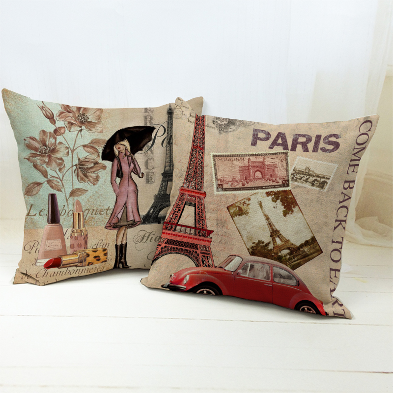 Free shipping Beautilful Eiffel Tower and Paris Girl Lipsticks Umbrella pattern cushion cover home decorative throw pillow case
