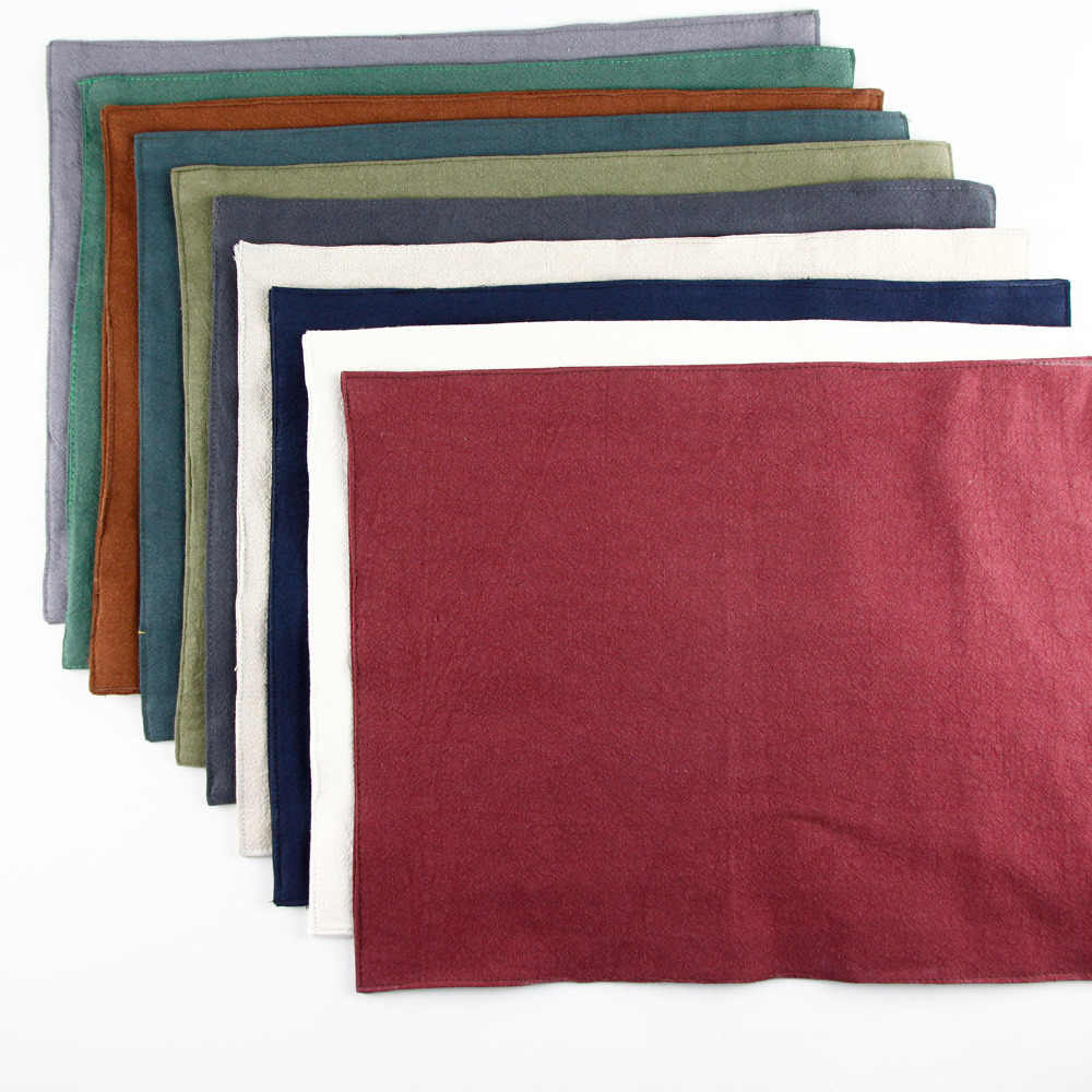 Napperon en lin lavé de haute qualité tapis d'isolation thermique tapis de table pour enfants serviette de table solide 10 couleurs napperons