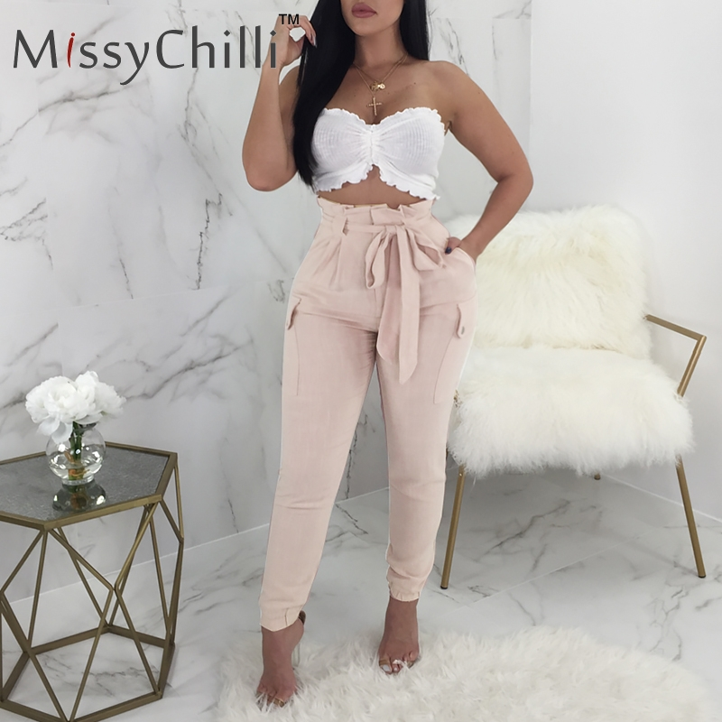 MissyChill Pink ruffle casual   pants     capri   Women sash high waist cargo   pants   trousers Bow white spring summer female   pants   bottom