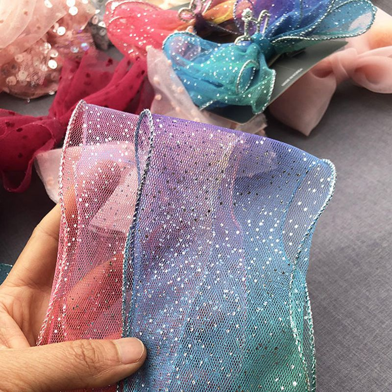 8cm 20m Gradient Translucent Wavy Yarn With Shining Cтразы Strass Rhinestones Spot Ribbon For Wedding Bouquet Packaging DIY in Ribbons from Home Garden