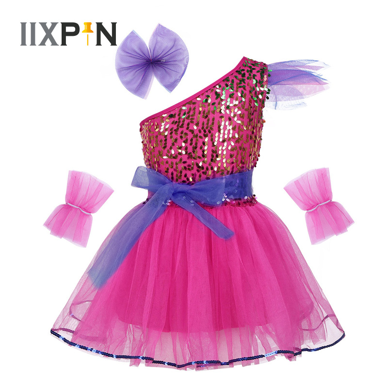 IIXPIN Girls Jazz Dress Dance Costume One-Shoulder Sparkly Sequins Mesh Dress Hairclip Wristband Modern Contemporary Dance Dress