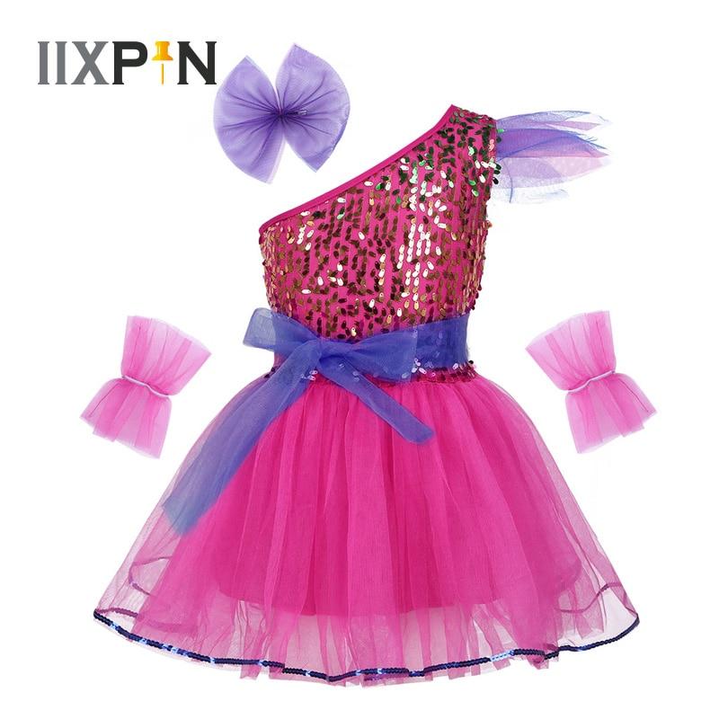 IIXPIN Girls Jazz Dress Dance Costume One-Shoulder Sparkly Sequins Mesh Dress Hairclip Wristband Modern Contemporary Dance Dress