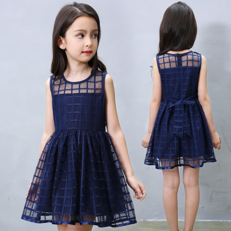 Kids Girls Summer Dress 2018 new children Sleeveless dress girl child princess 95%cotton dress vest dress 2 7y girls clothing summer girl dress children kids berry dress back v dress girls cotton kids vest dress children clothes 2017