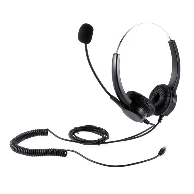 VH500D Professional Telephone Headset Clear Voice Noise Cancellation with Headset Adaptor for Call Center Digital Telephone