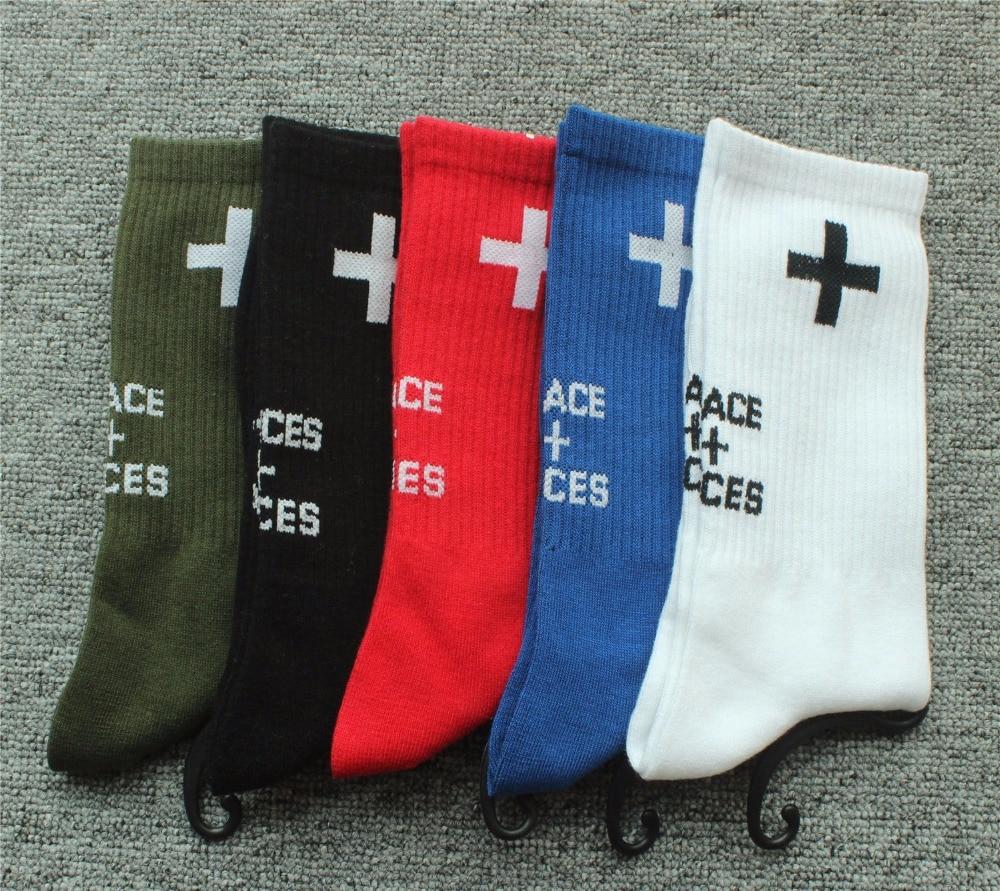 2018 New Collection Socks Men Women Skateboard Socks Places Plus Faces Mid-Calf Length Men Cross Cotton Socks