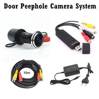 Wide Angle Door Eye Camera Kit 700TVL Bullet Mini CCTV Camera with USB Audio Capture Card 10M Cable Door Peephole Camera System