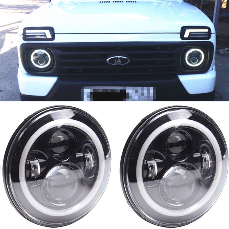2PC For lada 4x4 Led Headlight 7inch Round High Low Beam DC 12v 24v Lights headlamp