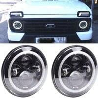 2PC For lada 4x4 Led Headlight 7inch Round High Low Beam DC 12v 24v Lights headlamp For Jeep Wrangler urban Niva suzuki samurai