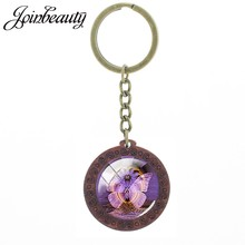 JOINBEAUTY Butterfly Art Picture Wooden Keychain Car Key Holder Animal Glass Cabochon Dome Pendant Metal Key Rings C590(China)