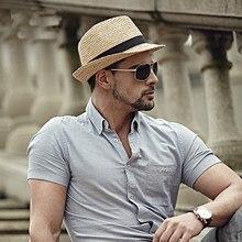 d090f283 2016 Fashion Summer Straw Men's Sun Hats Fedora Trilby Gangster Cap Summer  Beach Cap Panama Hat
