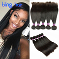 Bling Hair Peruvian Straight Hair 5 Bundles 8A Unprocessed Peruvian Virgin Hair Straight Human Hair Weave Natural Color 8-28inch