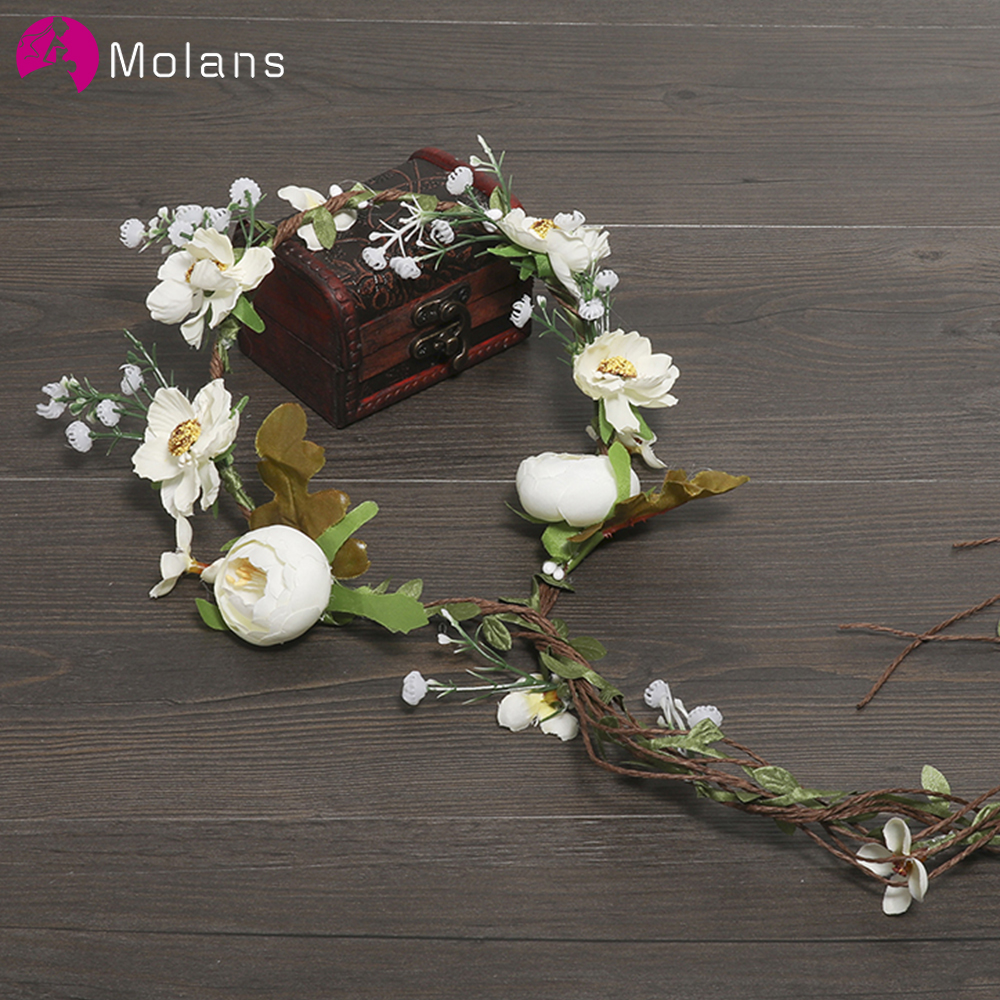 MOLANS Boho Flower Crown Headband For Women Wedding Photography Accessories Rattan Florals Garland Bridal Vintage Headpiece