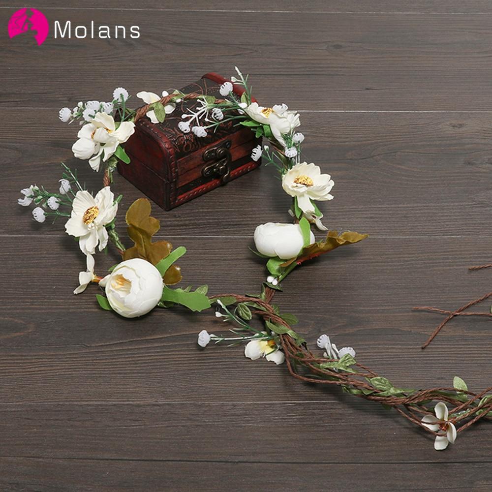 MOLANS Boho Flower Crown Headband For Women Wedding Photography Accessories Rattan Florals Garland Bridal Vintage Headpiece
