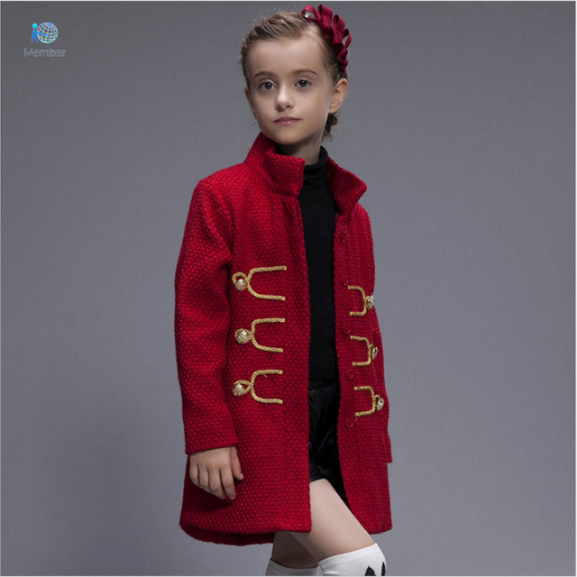 Girls winter coat kids wool coat girls Kids winter coat new models Tong Retro style windbreaker Children Children 3-10 coat 30#