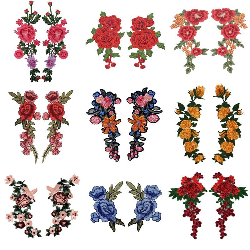 2 pc/set bordado rosa flor costurar em/ferro no remendo applique diy artesanato stiker para calças de brim chapéu saco roupas acessórios emblemas