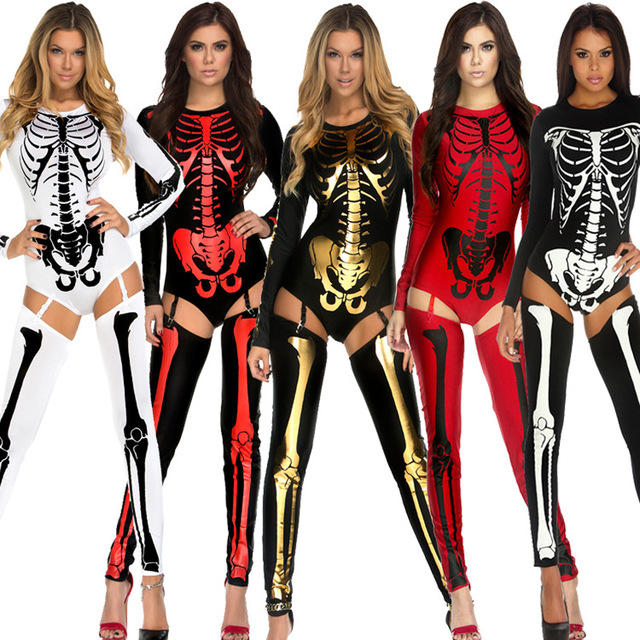 7aeabdb1056 US $15.9 |New Arrival Adult Halloween Party Costume Scary Devil Ghost  Cosplay Women Skull Skeleton Prints Leotard Catsuit Costume-in Holidays  Costumes ...