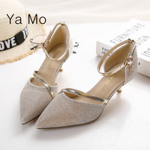 New fashion 2016 pointed toe pumps women silver stilettos heels shoes ankle tie low heel pumps gold wedding shoes