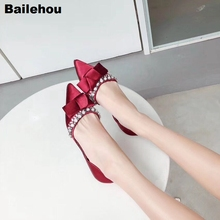 купить Bailehou Women Flat Ballet Shoes Elegant Silk Rhinestone Flats Women Pointed Toe Wedding Shoes Butterfly Knot Female Ballerina по цене 1679.6 рублей