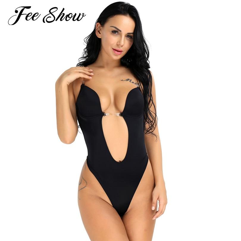 35858ba81687d Women Sexy Thong Body Shaper Wedding Corset Bra Dress Backless Bodysuit  Thong One Piece Seamless U
