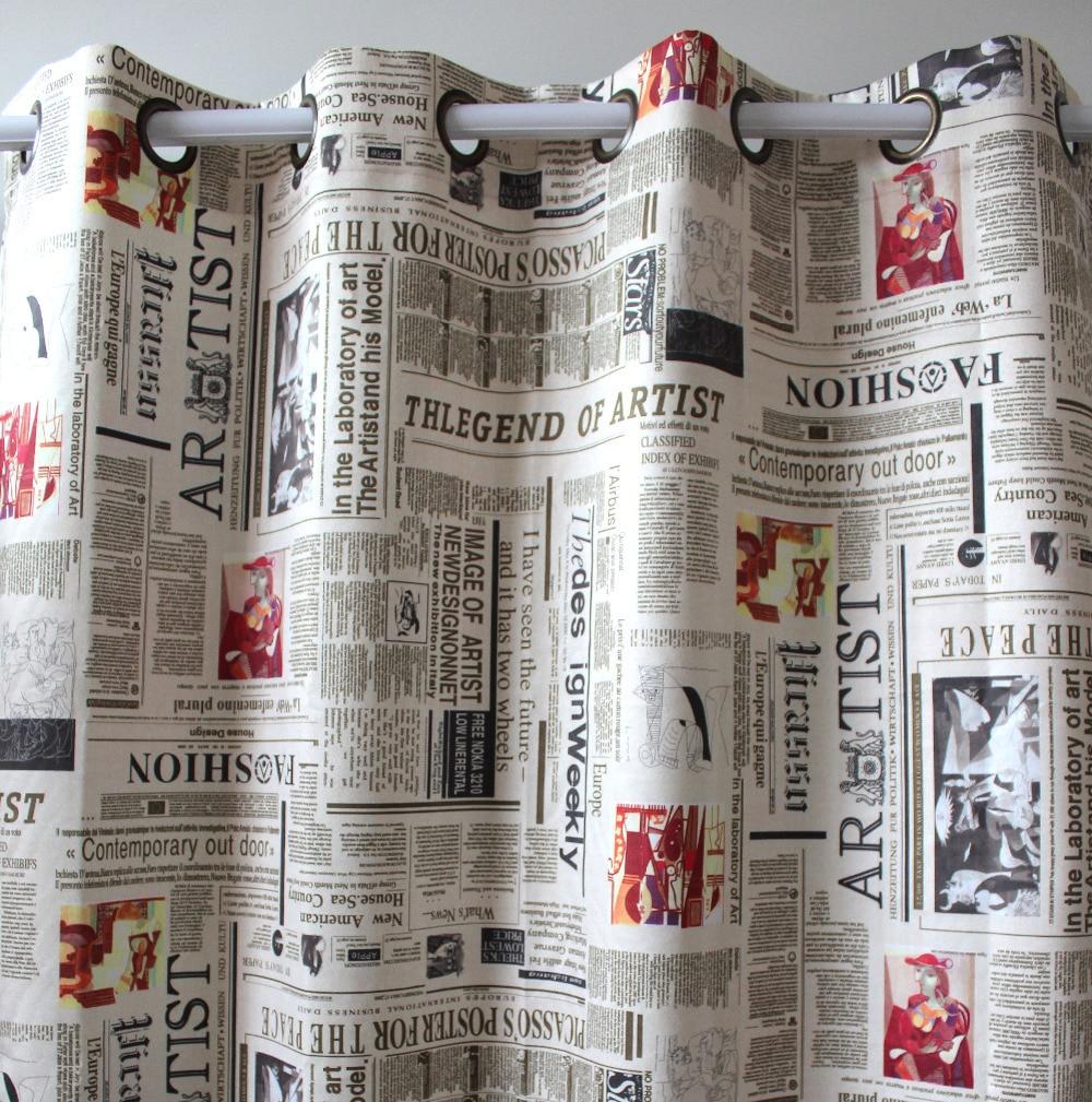 Printed Curtains Living Room Aliexpresscom Buy New Arrival Suede Printed Newspaper Window