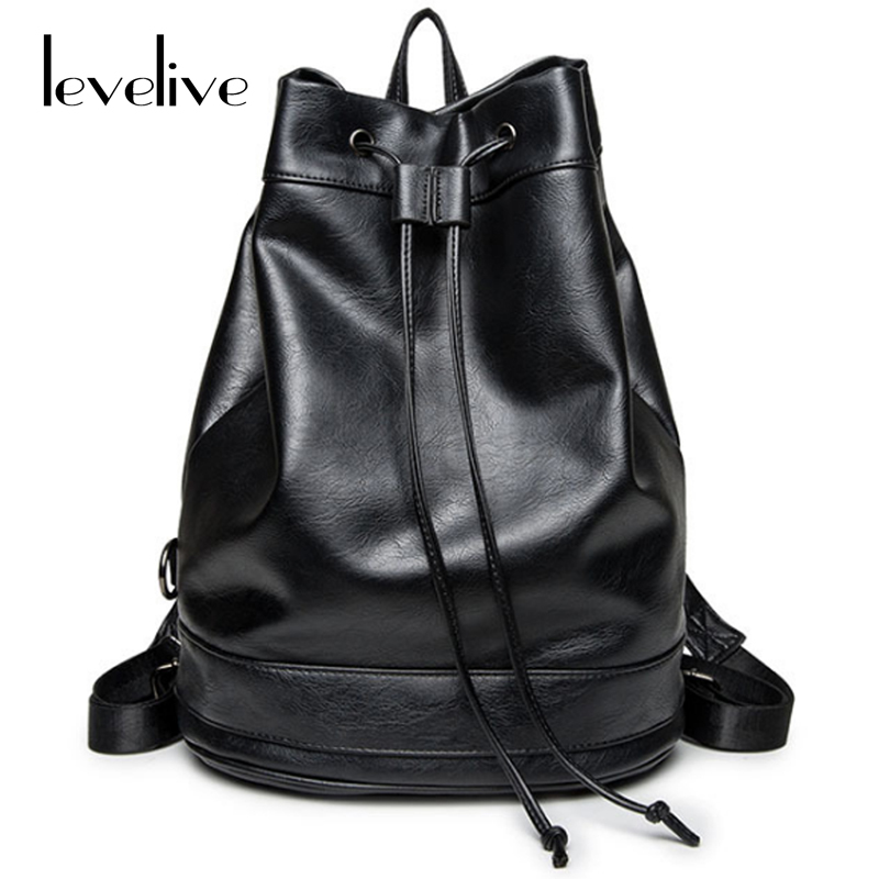 LEVELIVE Preppy Style Leather Backpacks Men Women Bucket Bag Male Female Bagpack Fashionable School Bags for Teenage Boys Girls fashionable fulled handwritten letters pattern felt bucket hat for men